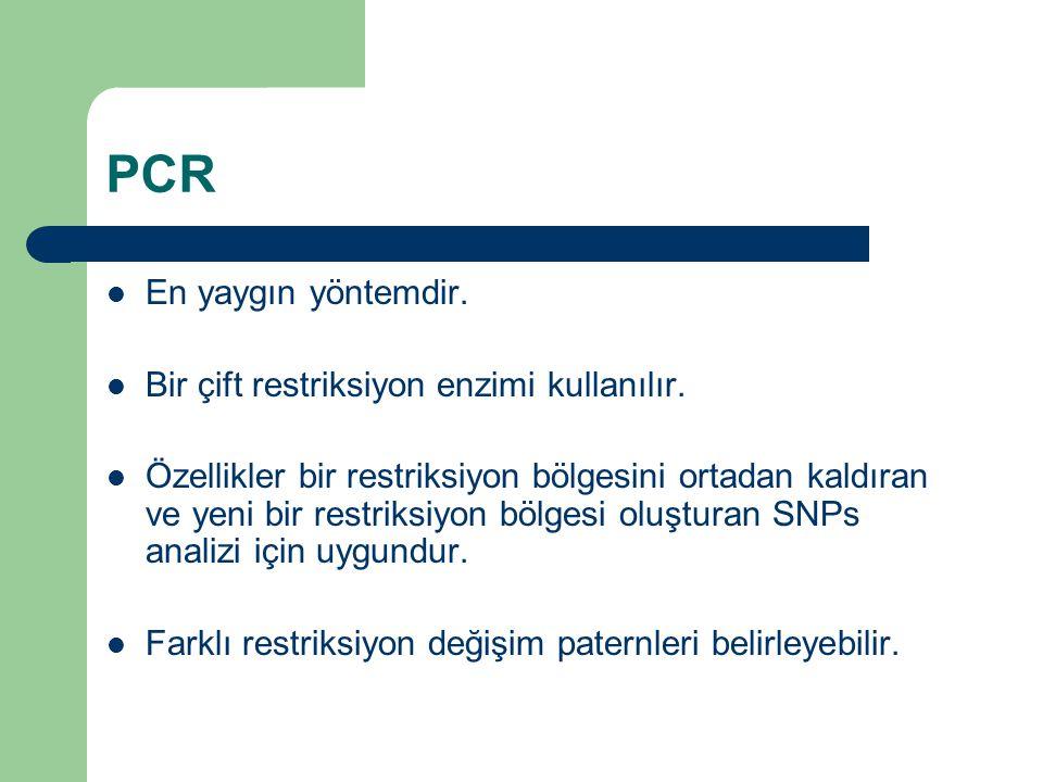 PCR En yaygın yöntemdir. Bir çift restriksiyon enzimi kullanılır. Özellikler bir restriksiyon bölgesini ortadan kaldıran ve yeni bir restriksiyon bölg