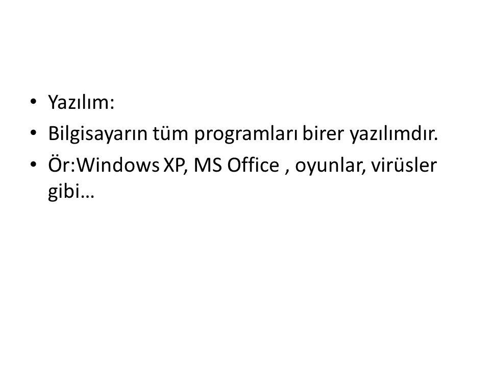 Yazılım: Bilgisayarın tüm programları birer yazılımdır.