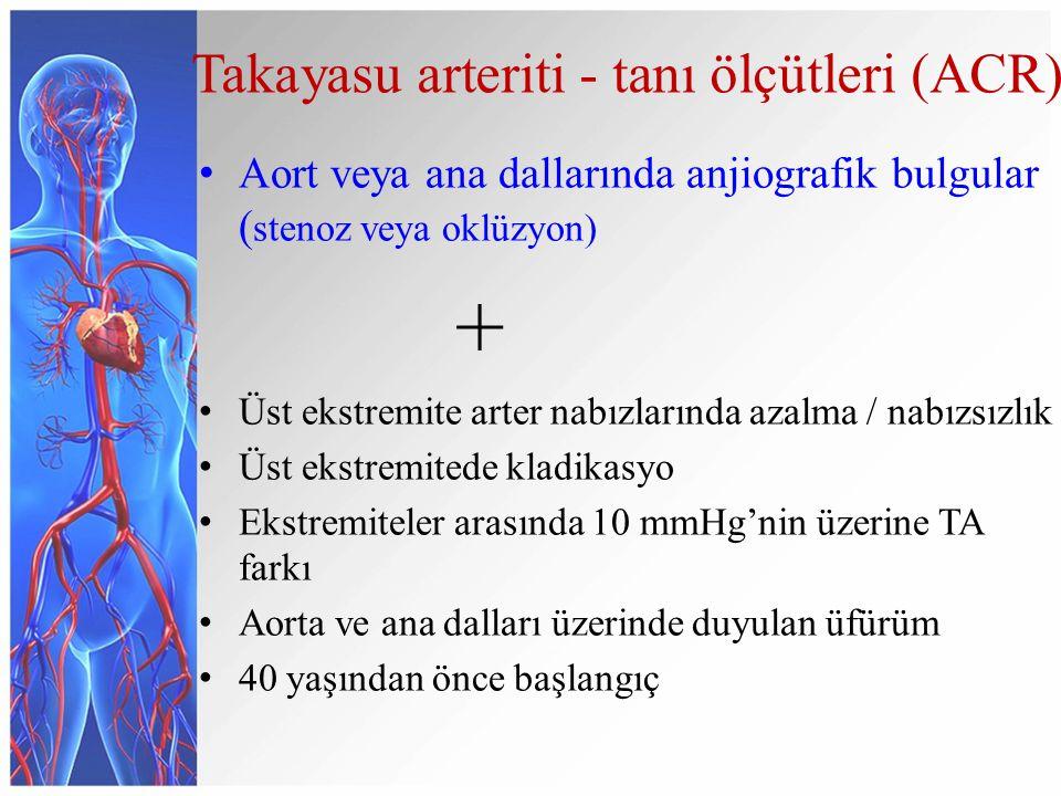 Takayasu arteriti - tanı ölçütleri (ACR) Aort veya ana dallarında anjiografik bulgular ( stenoz veya oklüzyon) + Üst ekstremite arter nabızlarında azalma / nabızsızlık Üst ekstremitede kladikasyo Ekstremiteler arasında 10 mmHg'nin üzerine TA farkı Aorta ve ana dalları üzerinde duyulan üfürüm 40 yaşından önce başlangıç