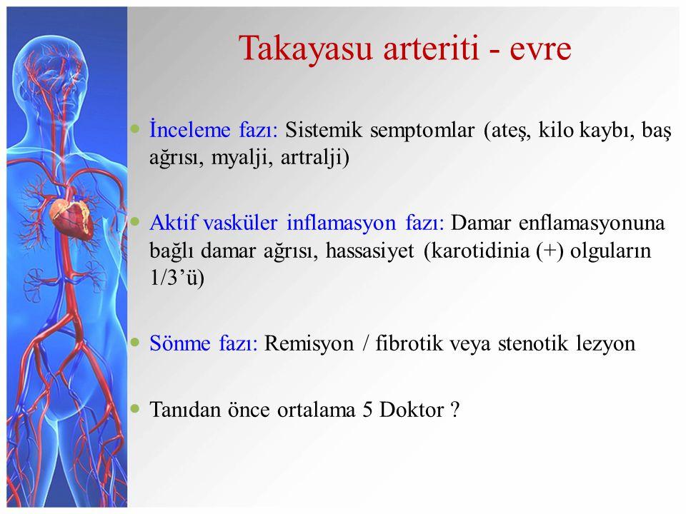 Takayasu arteriti - evre İnceleme fazı: Sistemik semptomlar (ateş, kilo kaybı, baş ağrısı, myalji, artralji) Aktif vasküler inflamasyon fazı: Damar en