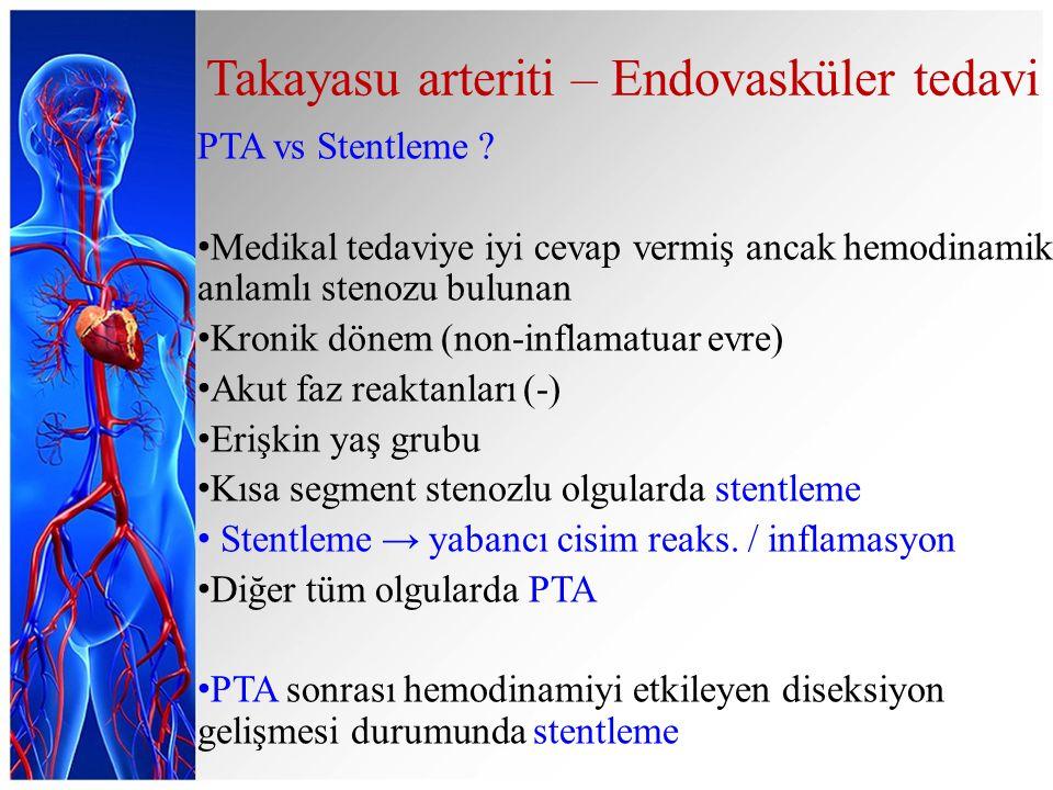 Takayasu arteriti – Endovasküler tedavi PTA vs Stentleme ? Medikal tedaviye iyi cevap vermiş ancak hemodinamik anlamlı stenozu bulunan Kronik dönem (n