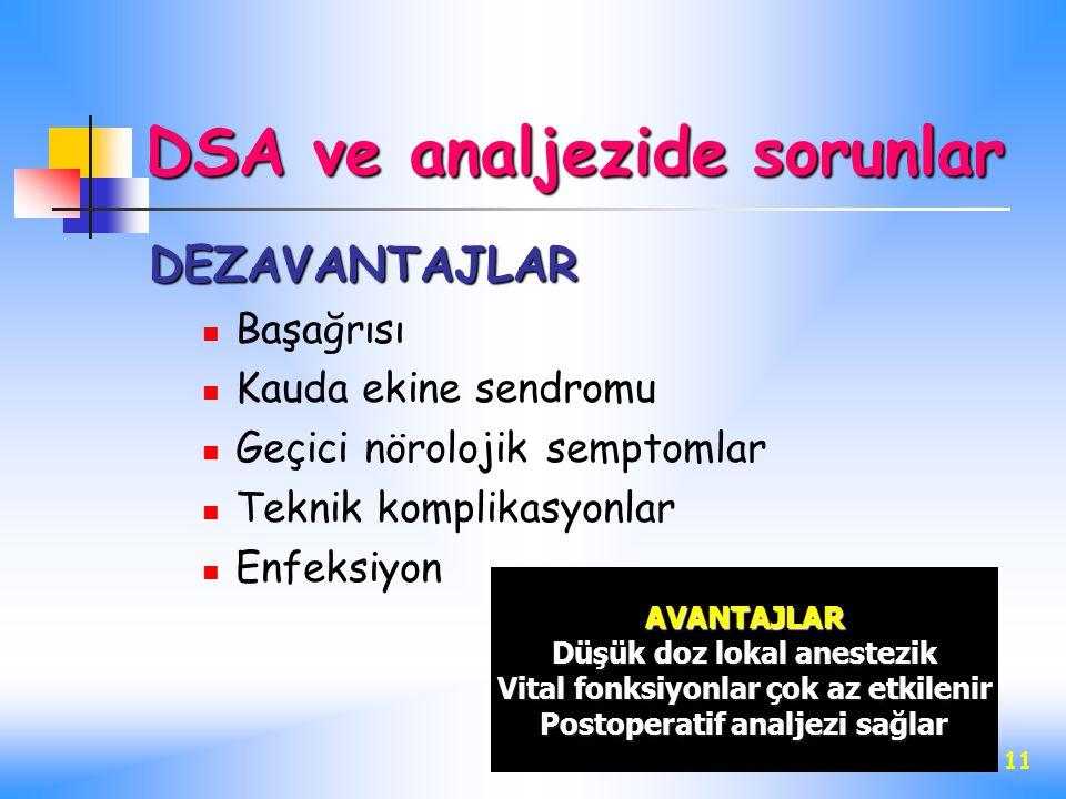 11 DSA ve analjezide sorunlar DEZAVANTAJLAR Başağrısı Kauda ekine sendromu Geçici nörolojik semptomlar Teknik komplikasyonlar Enfeksiyon AVANTAJLAR Dü