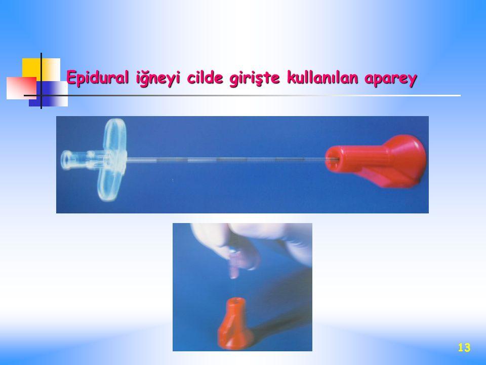 13 Epidural iğneyi cilde girişte kullanılan aparey