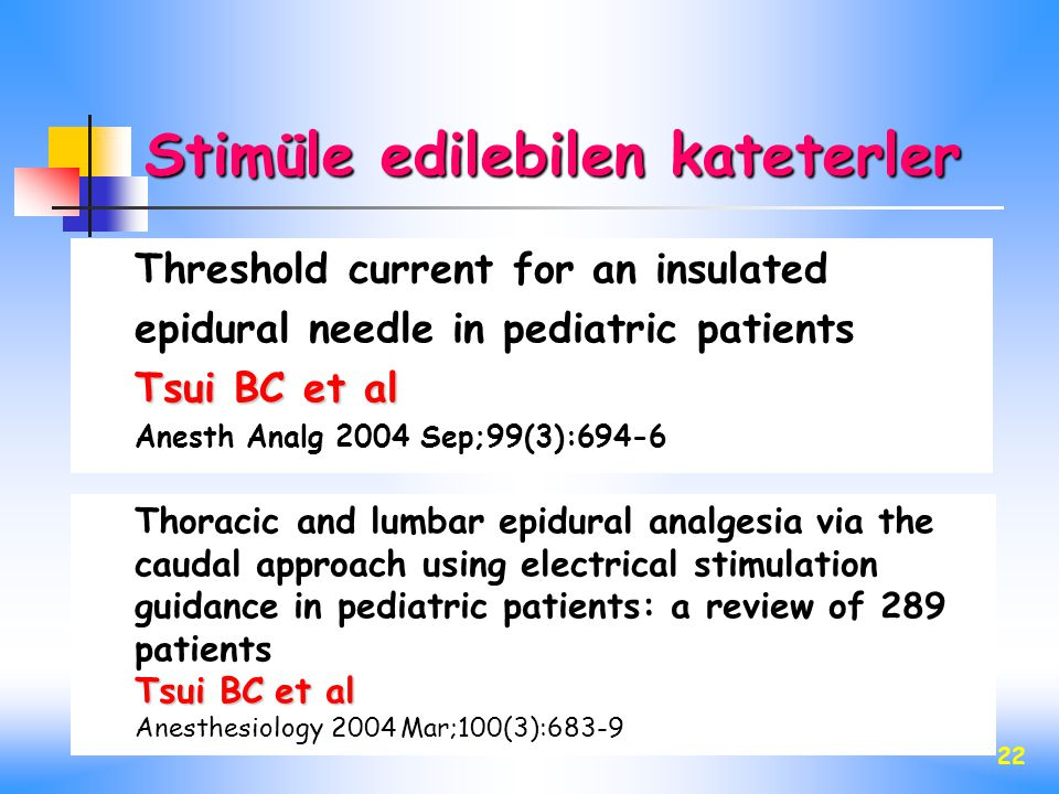 22 Threshold current for an insulated epidural needle in pediatric patients Tsui BC et al Anesth Analg 2004 Sep;99(3):694-6 Thoracic and lumbar epidur