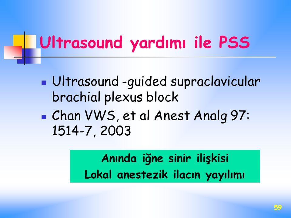 59 Ultrasound yardımı ile PSS Ultrasound -guided supraclavicular brachial plexus block Chan VWS, et al Anest Analg 97: 1514-7, 2003 Anında iğne sinir