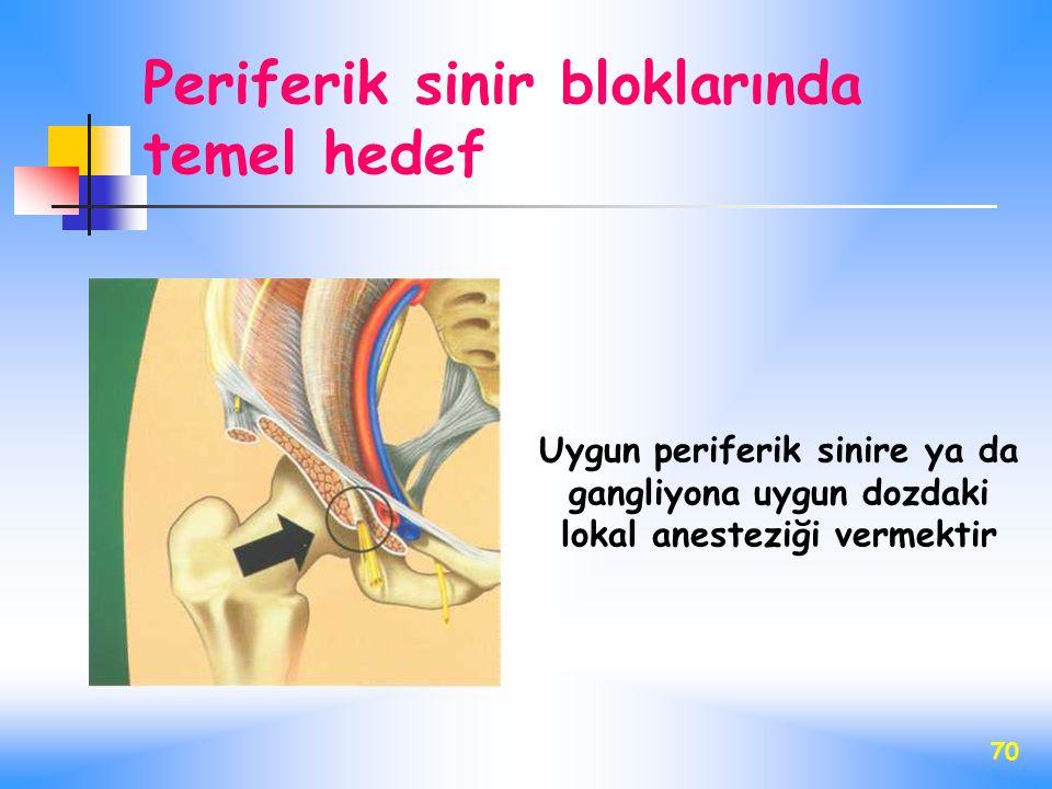 70 Uygun periferik sinire ya da gangliyona uygun dozdaki lokal anesteziği vermektir Periferik sinir bloklarında temel hedef