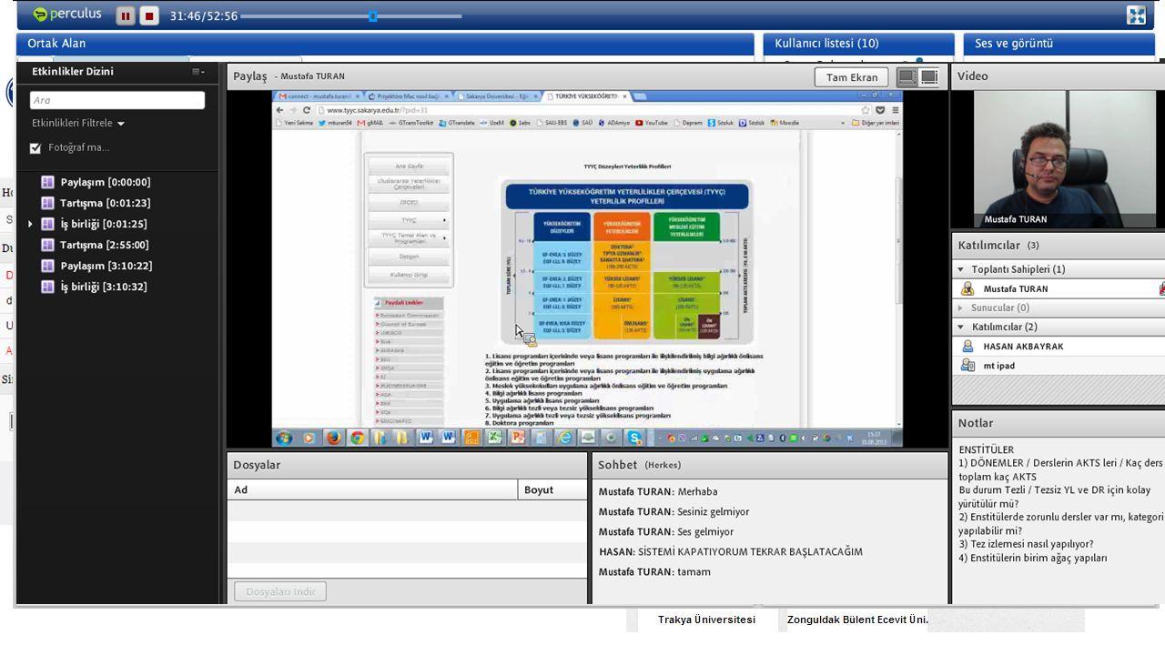 Platform (LMS) ve Canlı Yayın Araçları Akademik LMS SAUPORT Perculus Adobe Connect