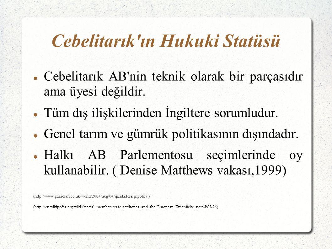 Cebelitarık ın Hukuki Statüsü Cebelitarık AB nin teknik olarak bir parçasıdır ama üyesi değildir.
