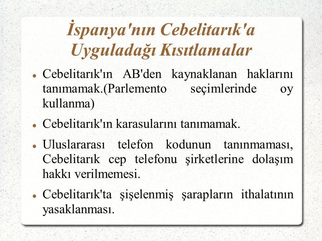 Cebelitarık ın AB den kaynaklanan haklarını tanımamak.(Parlemento seçimlerinde oy kullanma) Cebelitarık ın karasularını tanımamak.