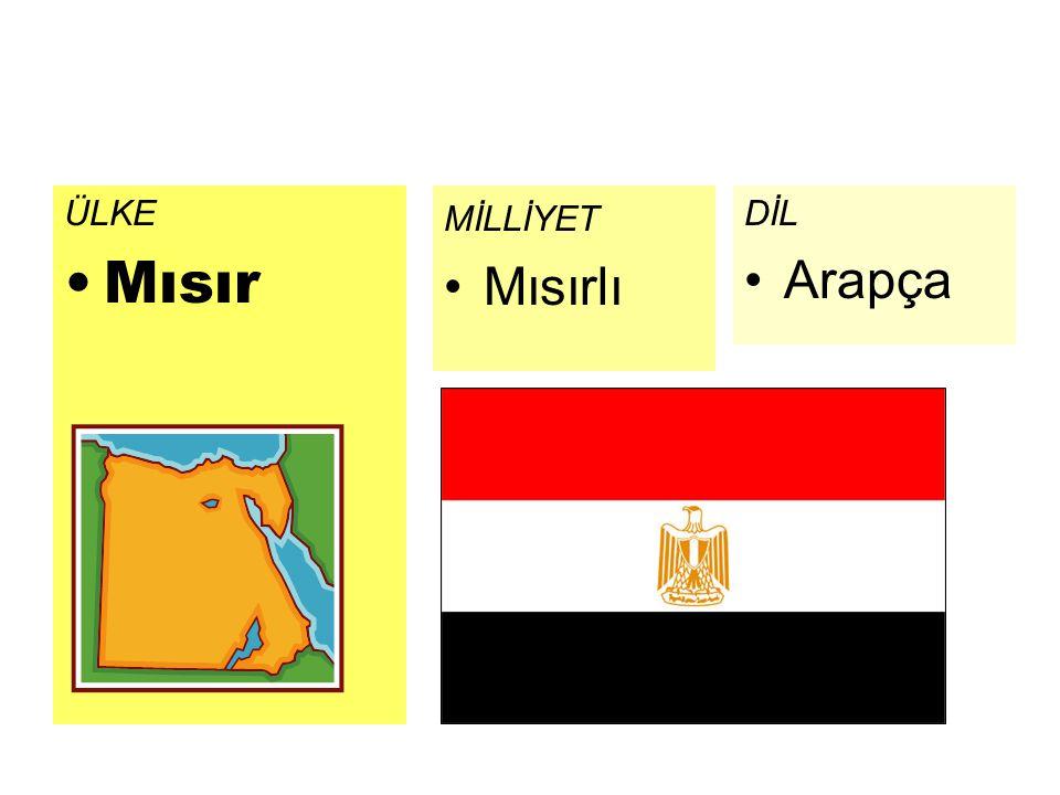 ÜLKE Mısır DİL Arapça MİLLİYET Mısırlı