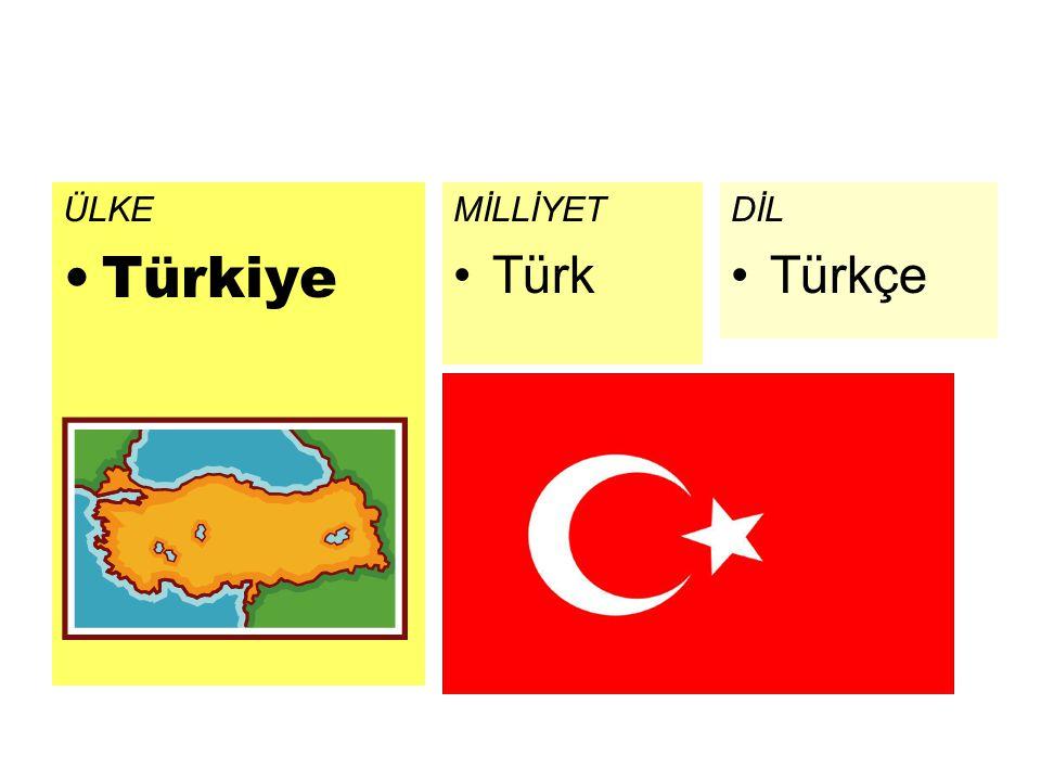 ÜLKE Türkiye DİL Türkçe MİLLİYET Türk