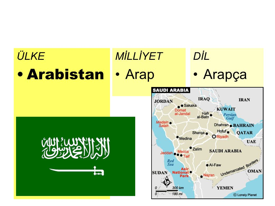 ÜLKE Arabistan DİL Arapça MİLLİYET Arap