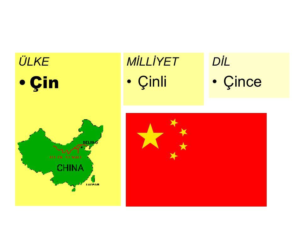 ÜLKE Çin DİL Çince MİLLİYET Çinli