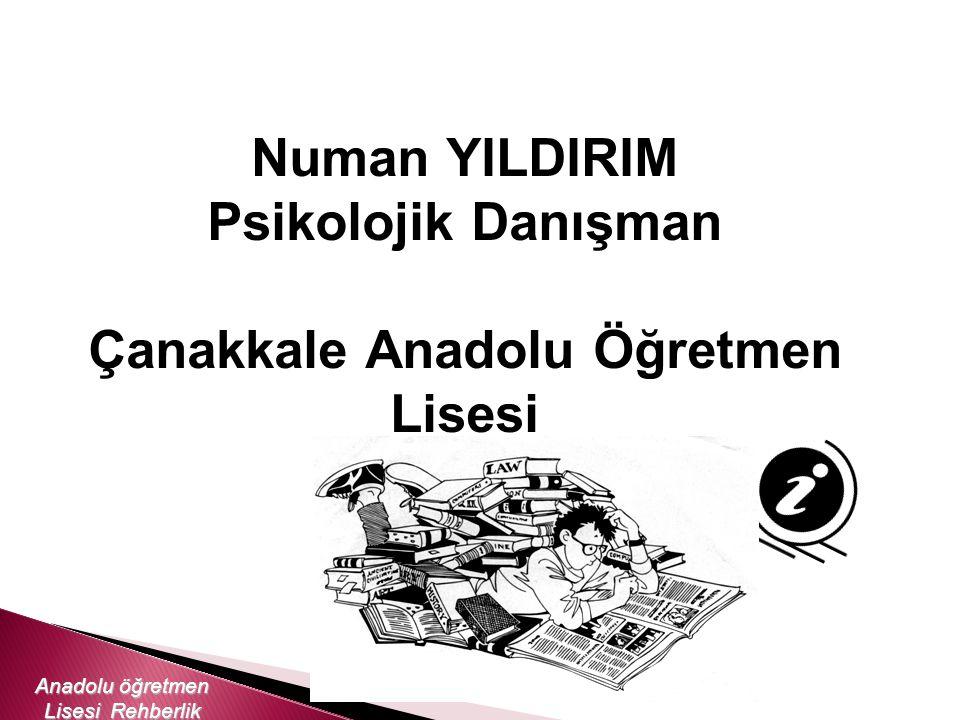 Numan YILDIRIM Psikolojik Danışman Çanakkale Anadolu Öğretmen Lisesi Anadolu öğretmen Lisesi Rehberlik Servisi