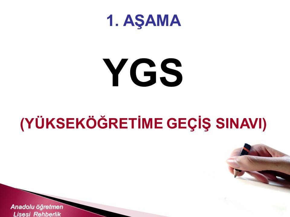 1. AŞAMA YGS (YÜKSEKÖĞRETİME GEÇİŞ SINAVI) Anadolu öğretmen Lisesi Rehberlik Servisi
