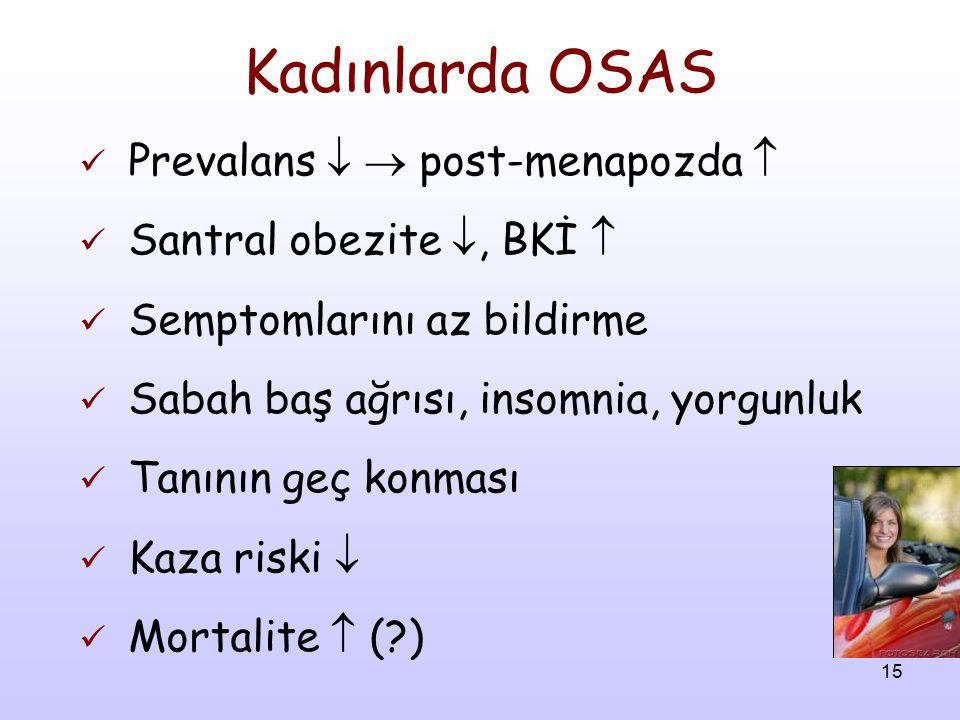 15 Kadınlarda OSAS Prevalans   post-menapozda  Santral obezite , BKİ  Semptomlarını az bildirme Sabah baş ağrısı, insomnia, yorgunluk Tanının geç