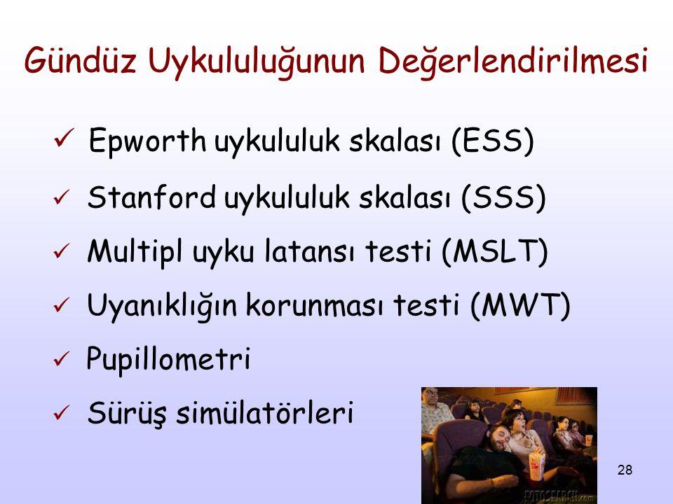 28 Gündüz Uykululuğunun Değerlendirilmesi Epworth uykululuk skalası (ESS) Stanford uykululuk skalası (SSS) Multipl uyku latansı testi (MSLT) Uyanıklığ
