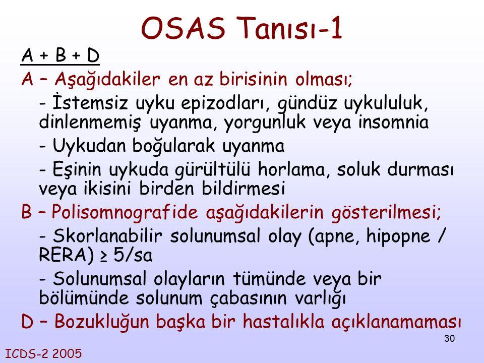 30 OSAS Tanısı-1 A + B + D A – Aşağıdakiler en az birisinin olması; - İstemsiz uyku epizodları, gündüz uykululuk, dinlenmemiş uyanma, yorgunluk veya i