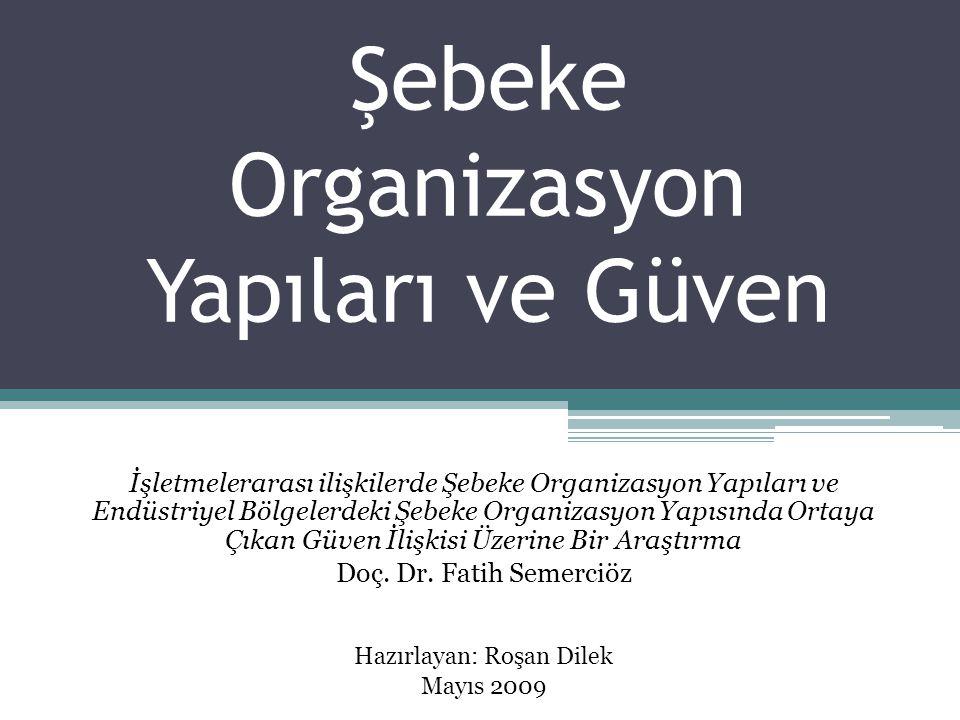 Şebeke Organizasyon Yapıları ve Güven İşletmelerarası ilişkilerde Şebeke Organizasyon Yapıları ve Endüstriyel Bölgelerdeki Şebeke Organizasyon Yapısın