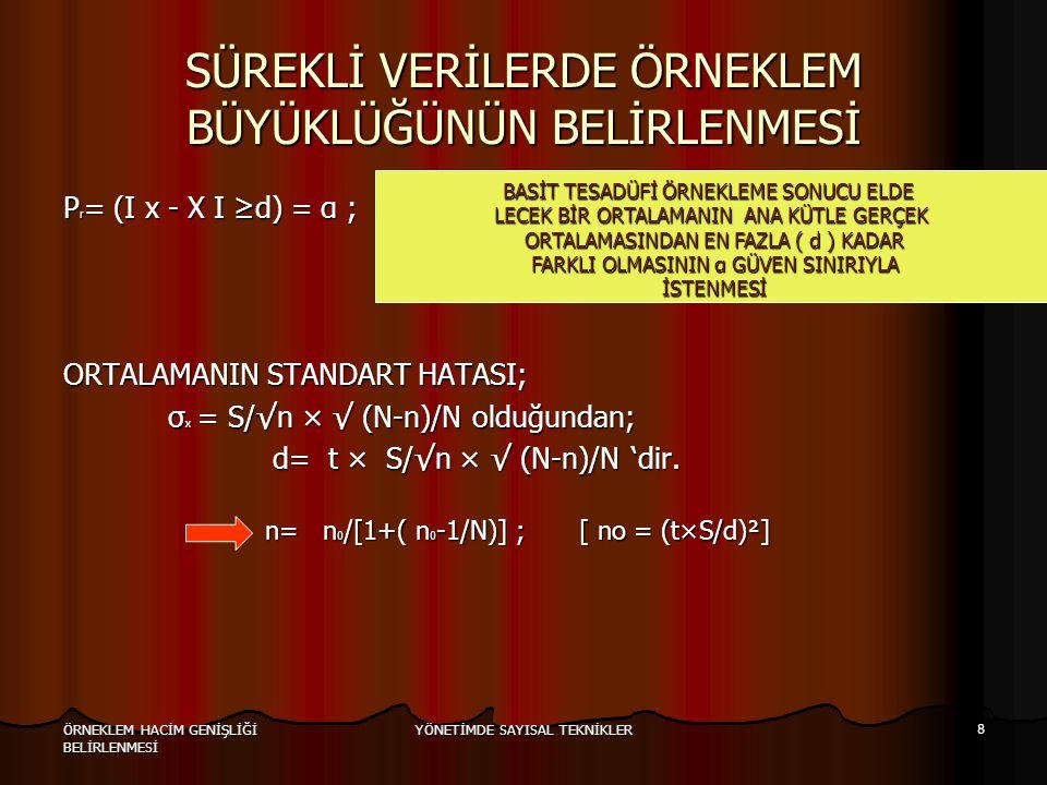 YÖNETİMDE SAYISAL TEKNİKLER 8 ÖRNEKLEM HACİM GENİŞLİĞİ BELİRLENMESİ SÜREKLİ VERİLERDE ÖRNEKLEM BÜYÜKLÜĞÜNÜN BELİRLENMESİ P r = (I x - X I ≥d) = α ; OR