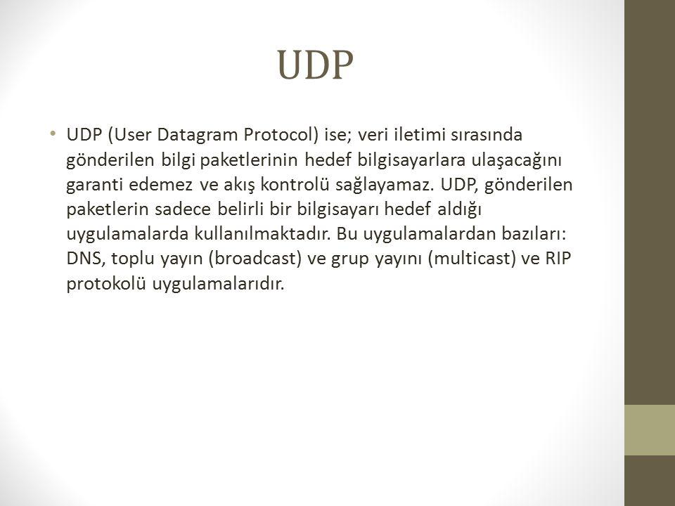 UDP UDP (User Datagram Protocol) ise; veri iletimi sırasında gönderilen bilgi paketlerinin hedef bilgisayarlara ulaşacağını garanti edemez ve akış kontrolü sağlayamaz.