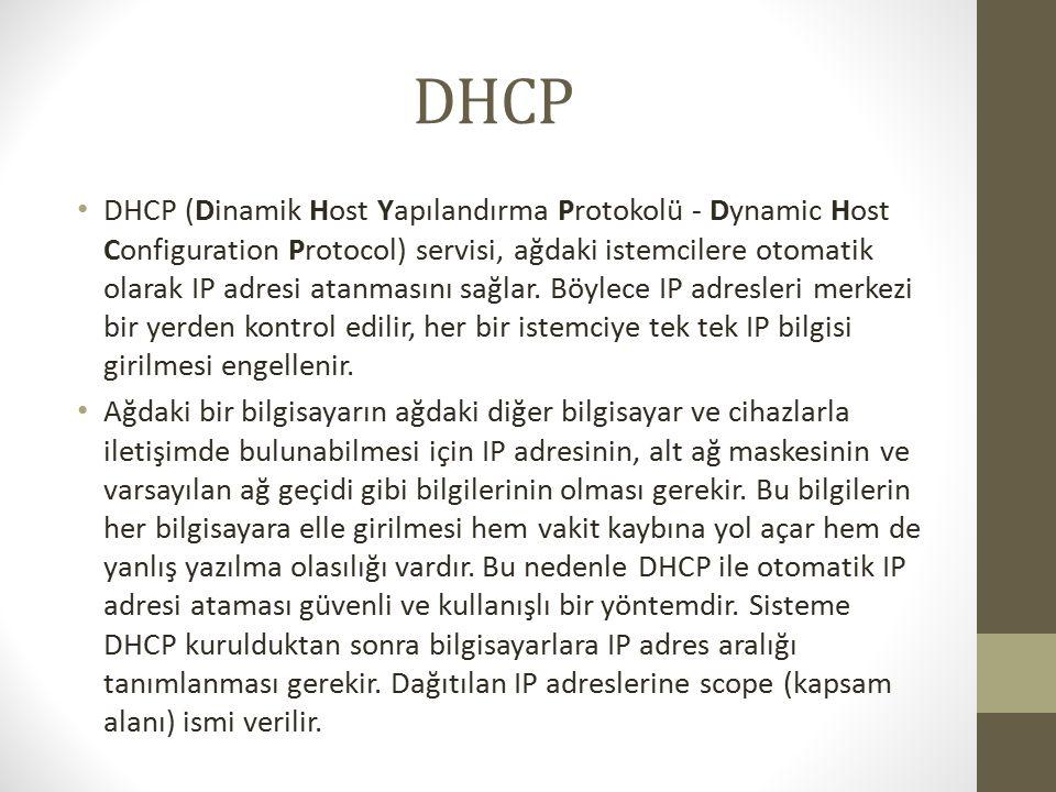 DHCP DHCP (Dinamik Host Yapılandırma Protokolü - Dynamic Host Configuration Protocol) servisi, ağdaki istemcilere otomatik olarak IP adresi atanmasını sağlar.
