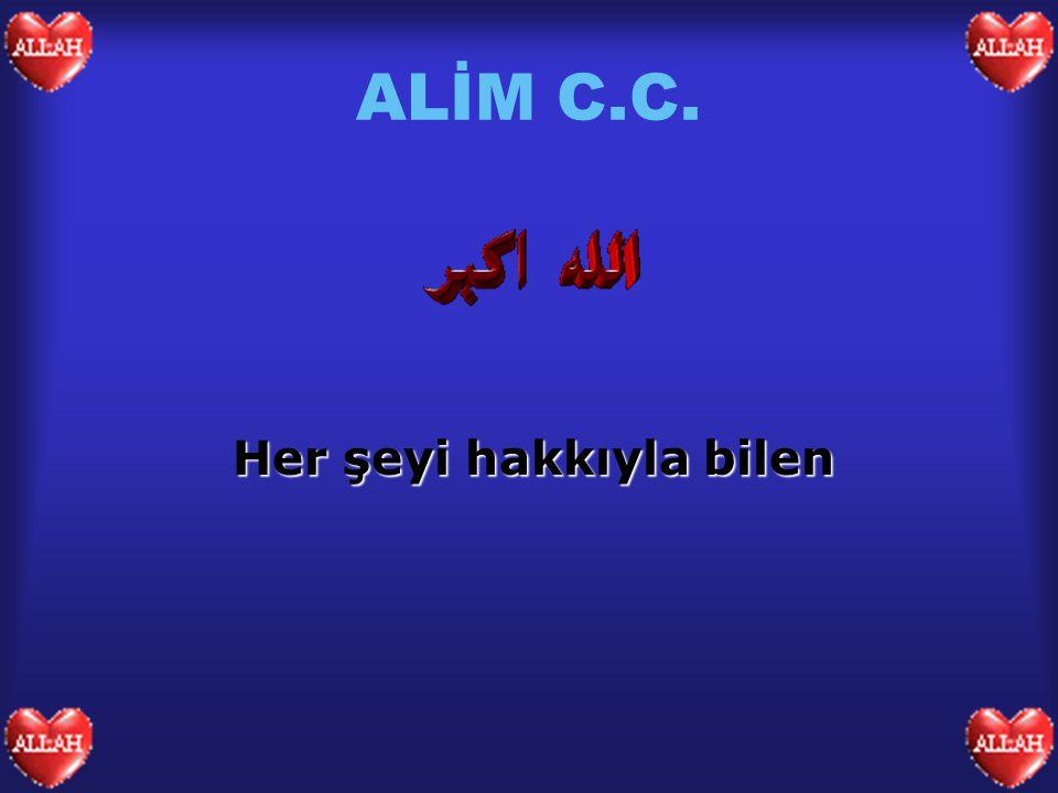 ALİM C.C. Her şeyi hakkıyla bilen