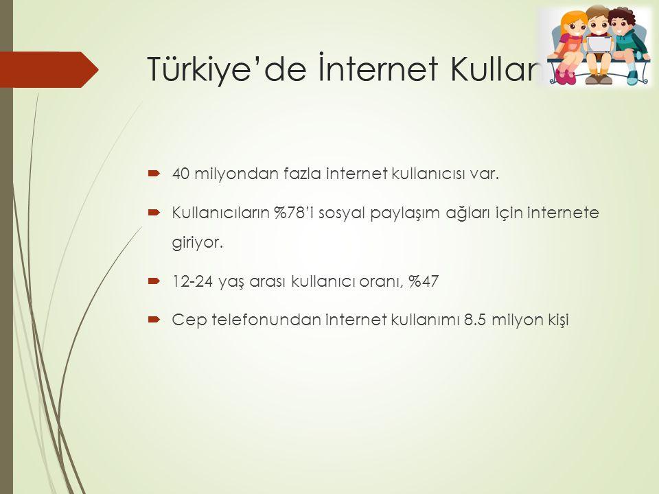 Türkiye'de İnternet Kullanımı  40 milyondan fazla internet kullanıcısı var.