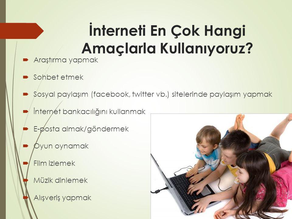 İnterneti En Çok Hangi Amaçlarla Kullanıyoruz.