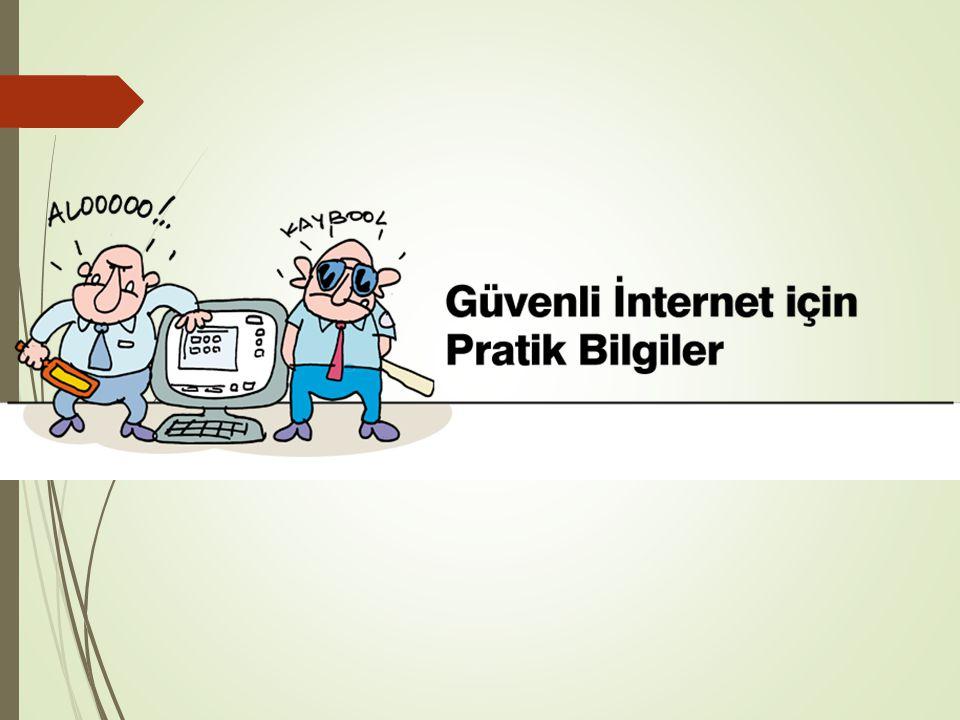 İnternetin Riskleri  Yanlış veya zararlı bilgiye erişim  Siber zorbalık  Sanal dolandırıcılık  Kişisel bilgilerin paylaşımı  Zararlı yazılımlar 