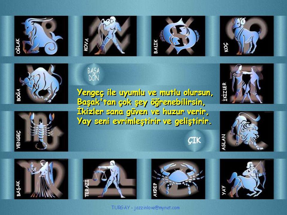Aslan seni mutlu eder, Terazi den çok şey öğrenebilirsin, Yengeç sana güven verir, Oğlak seni geliştirir ve ilerletir.