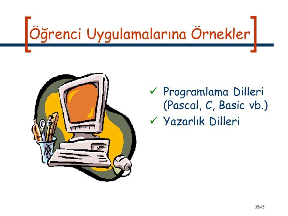 35/45 Öğrenci Uygulamalarına Örnekler Programlama Dilleri (Pascal, C, Basic vb.) Yazarlık Dilleri