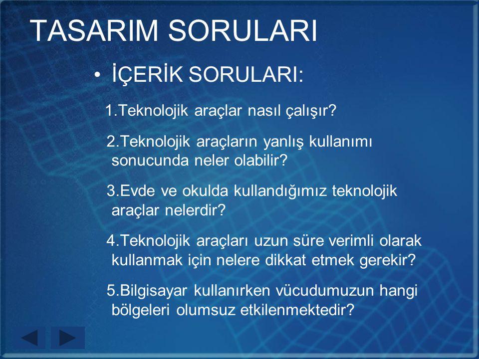 TASARIM SORULARI İÇERİK SORULARI: 1.Teknolojik araçlar nasıl çalışır.