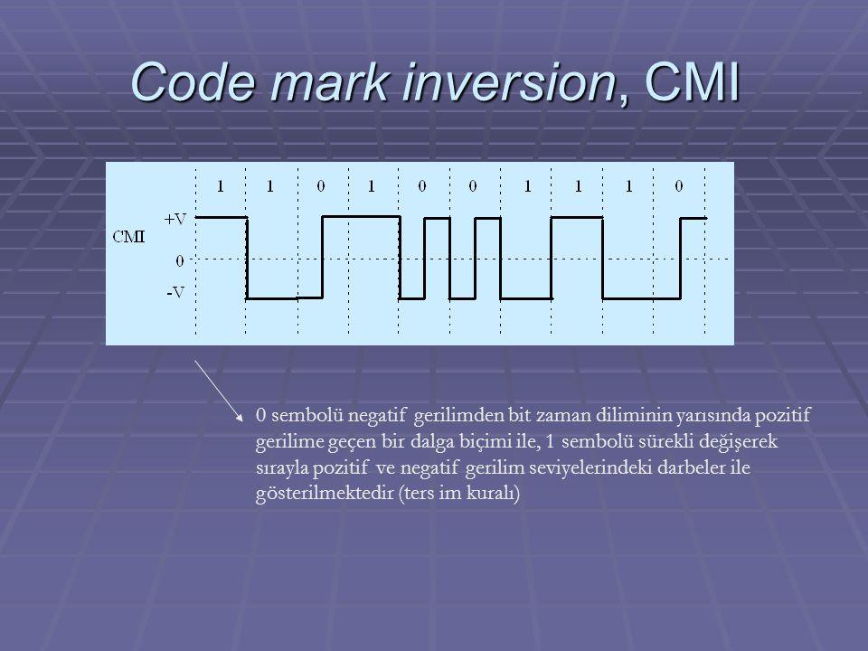 Code mark inversion, CMI 0 sembolü negatif gerilimden bit zaman diliminin yarısında pozitif gerilime geçen bir dalga biçimi ile, 1 sembolü sürekli değ