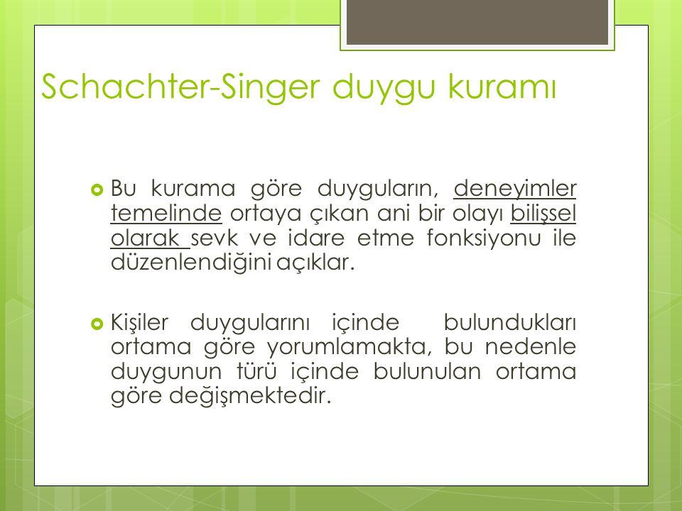 Schachter-Singer duygu kuramı  Bu kurama göre duyguların, deneyimler temelinde ortaya çıkan ani bir olayı bilişsel olarak sevk ve idare etme fonksiyo