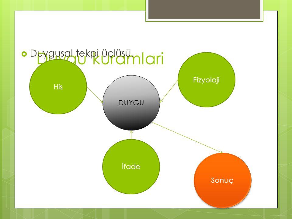Duygu kuramlari  Duygusal tekpi üçlüsü. His DUYGU Fizyoloji İfade Sonuç