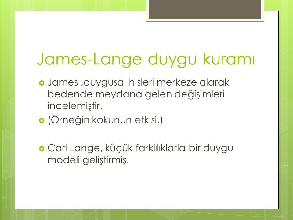 James-Lange duygu kuramı  James,duygusal hisleri merkeze alarak bedende meydana gelen değişimleri incelemiştir.  (Örneğin kokunun etkisi.)  Carl La