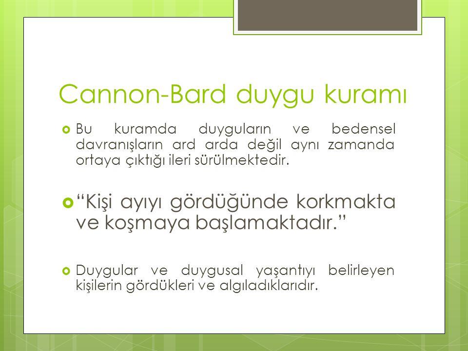 """Cannon-Bard duygu kuramı  Bu kuramda duyguların ve bedensel davranışların ard arda değil aynı zamanda ortaya çıktığı ileri sürülmektedir.  """"Kişi ayı"""