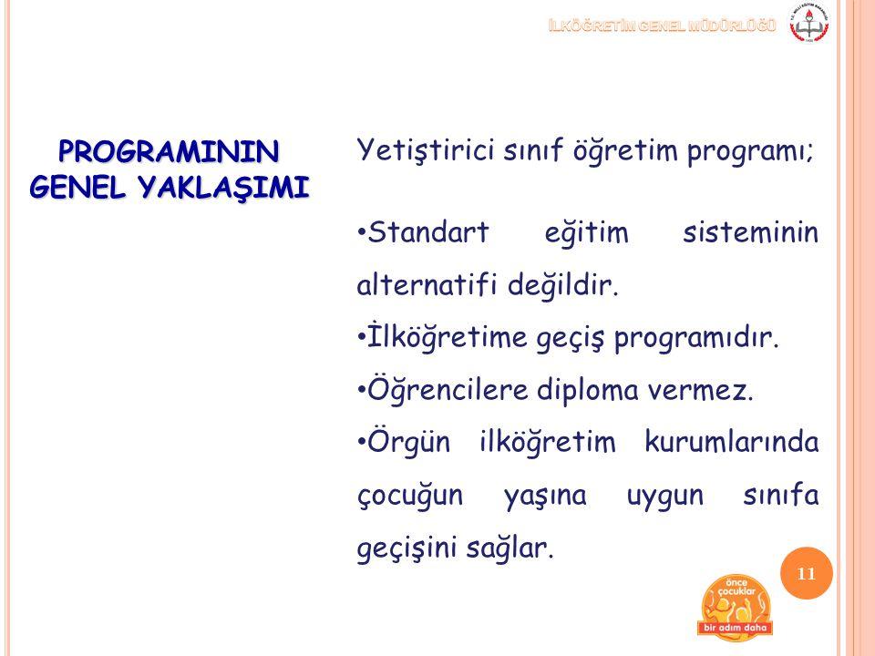 PROGRAMININ GENEL YAKLAŞIMI Yetiştirici sınıf öğretim programı; Standart eğitim sisteminin alternatifi değildir. İlköğretime geçiş programıdır. Öğrenc