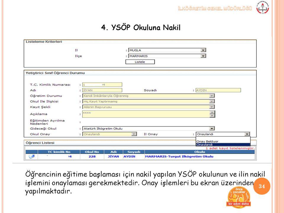 Öğrencinin eğitime başlaması için nakil yapılan YSÖP okulunun ve ilin nakil işlemini onaylaması gerekmektedir. Onay işlemleri bu ekran üzerinden yapıl