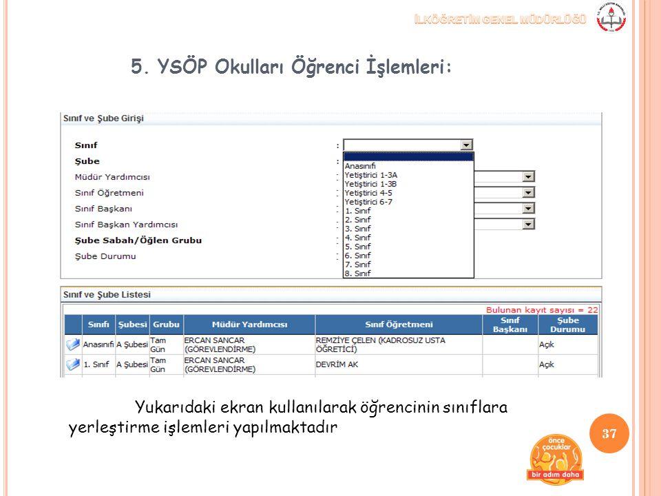 5. YSÖP Okulları Öğrenci İşlemleri: Yukarıdaki ekran kullanılarak öğrencinin sınıflara yerleştirme işlemleri yapılmaktadır 37