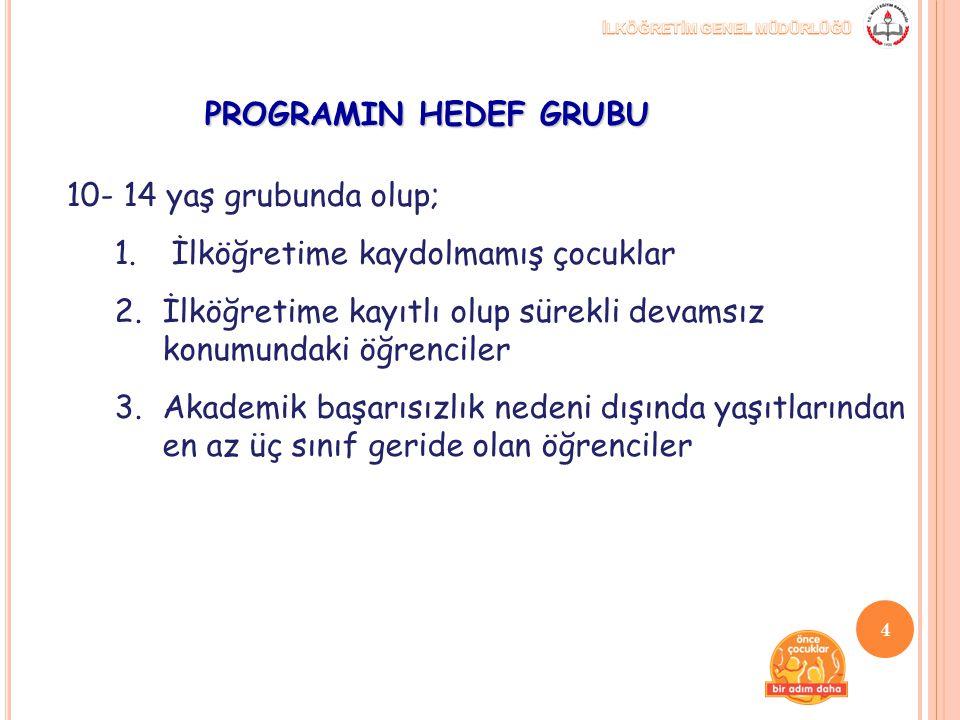 PROGRAMIN HEDEF GRUBU 10- 14 yaş grubunda olup; 1. İlköğretime kaydolmamış çocuklar 2.İlköğretime kayıtlı olup sürekli devamsız konumundaki öğrenciler