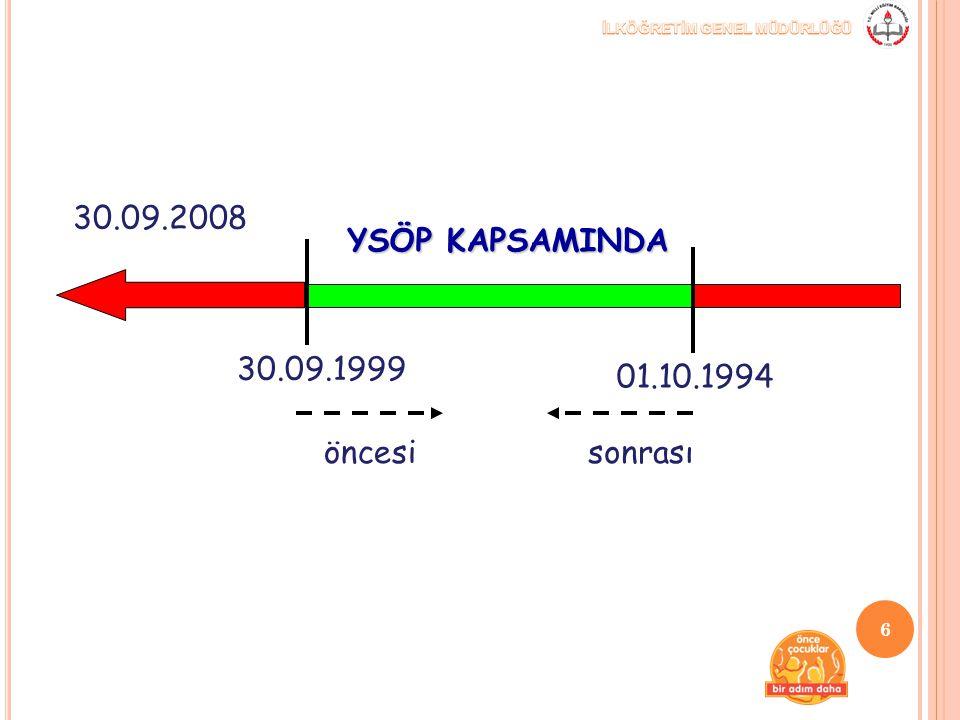 01.10.1994 30.09.1999 30.09.2008 YSÖP KAPSAMINDA öncesisonrası 6
