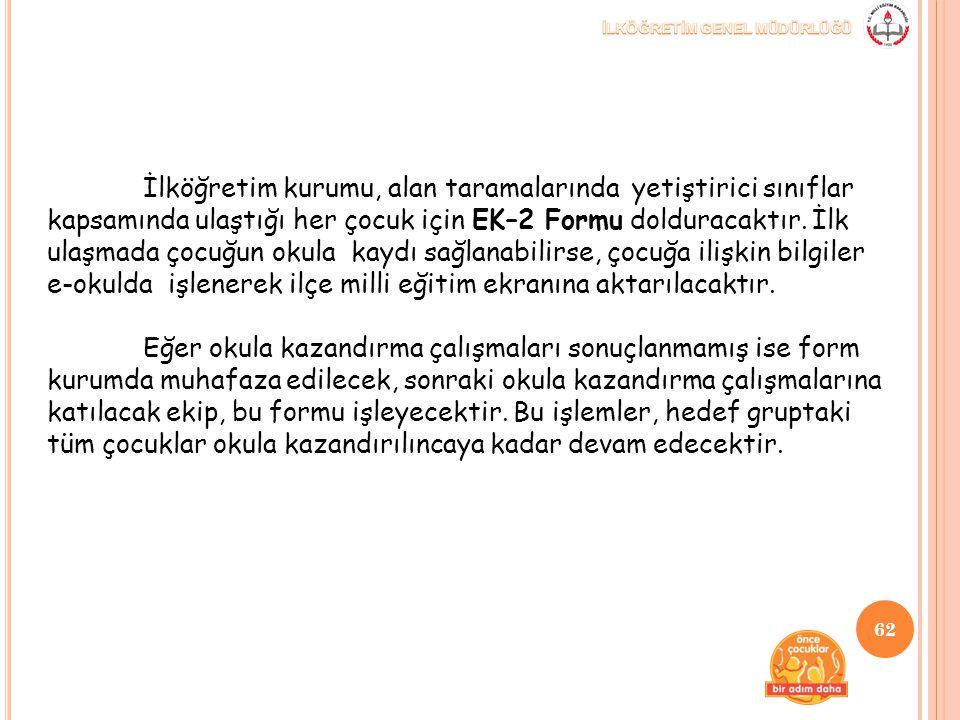 İlköğretim kurumu, alan taramalarında yetiştirici sınıflar kapsamında ulaştığı her çocuk için EK–2 Formu dolduracaktır. İlk ulaşmada çocuğun okula kay