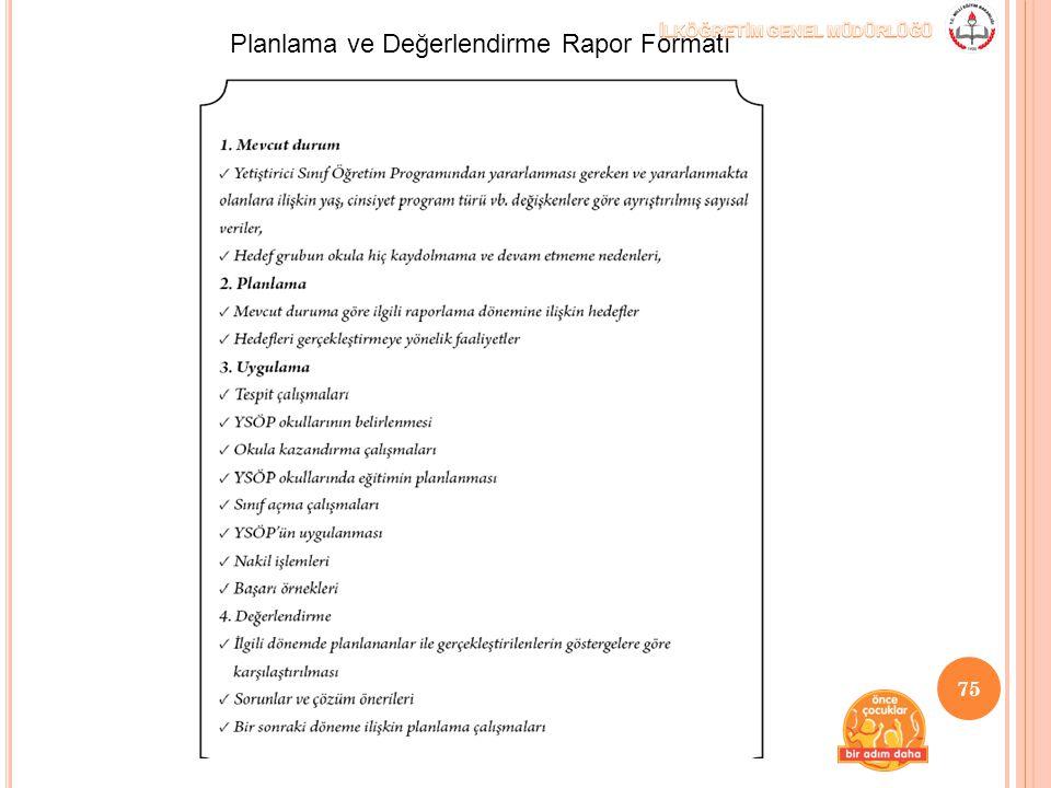 Planlama ve Değerlendirme Rapor Formatı 75