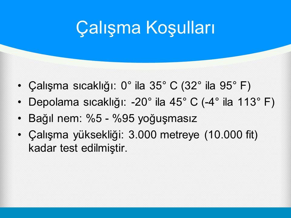 Çalışma Koşulları Çalışma sıcaklığı: 0° ila 35° C (32° ila 95° F) Depolama sıcaklığı: -20° ila 45° C (-4° ila 113° F) Bağıl nem: %5 - %95 yoğuşmasız Çalışma yüksekliği: 3.000 metreye (10.000 fit) kadar test edilmiştir.