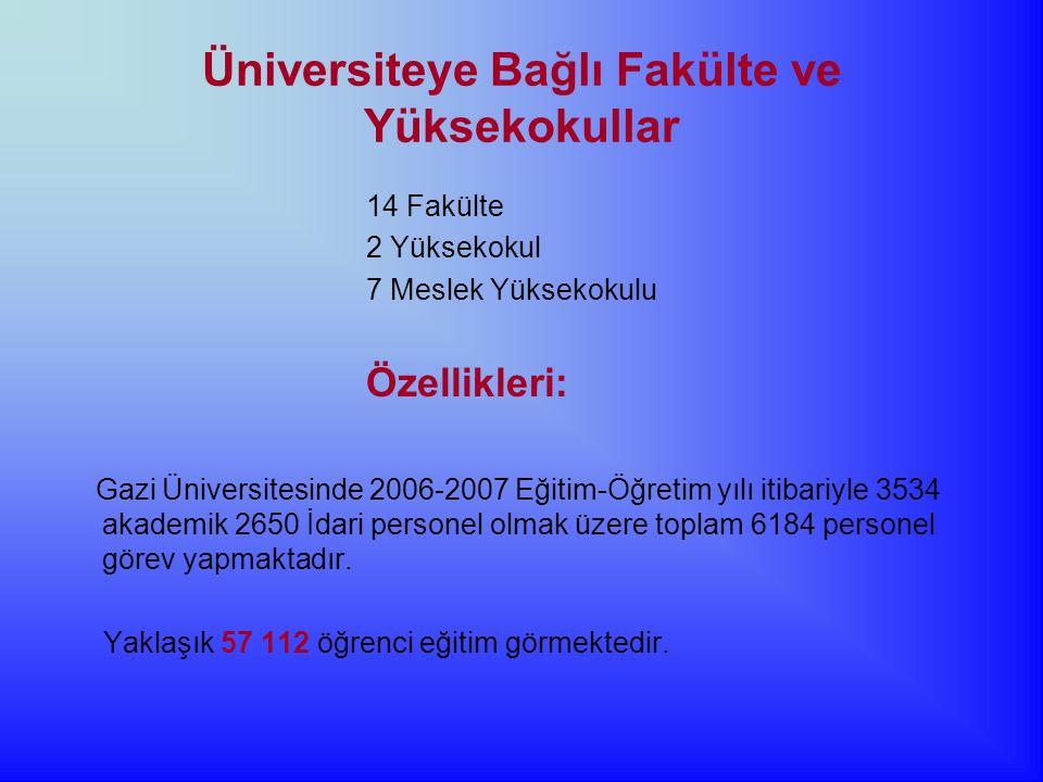 Üniversiteye Bağlı Fakülte ve Yüksekokullar 14 Fakülte 2 Yüksekokul 7 Meslek Yüksekokulu Özellikleri: Gazi Üniversitesinde 2006-2007 Eğitim-Öğretim yılı itibariyle 3534 akademik 2650 İdari personel olmak üzere toplam 6184 personel görev yapmaktadır.