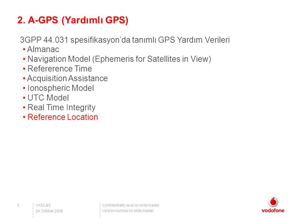 Confidentiality level on slide master Version number on slide master 2. A-GPS (Yardımlı GPS) VAS/L&S5 24 October 2008 Almanac Navigation Model (Epheme