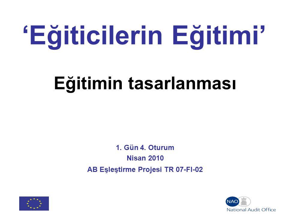 'Eğiticilerin Eğitimi' Eğitimin tasarlanması 1. Gün 4.