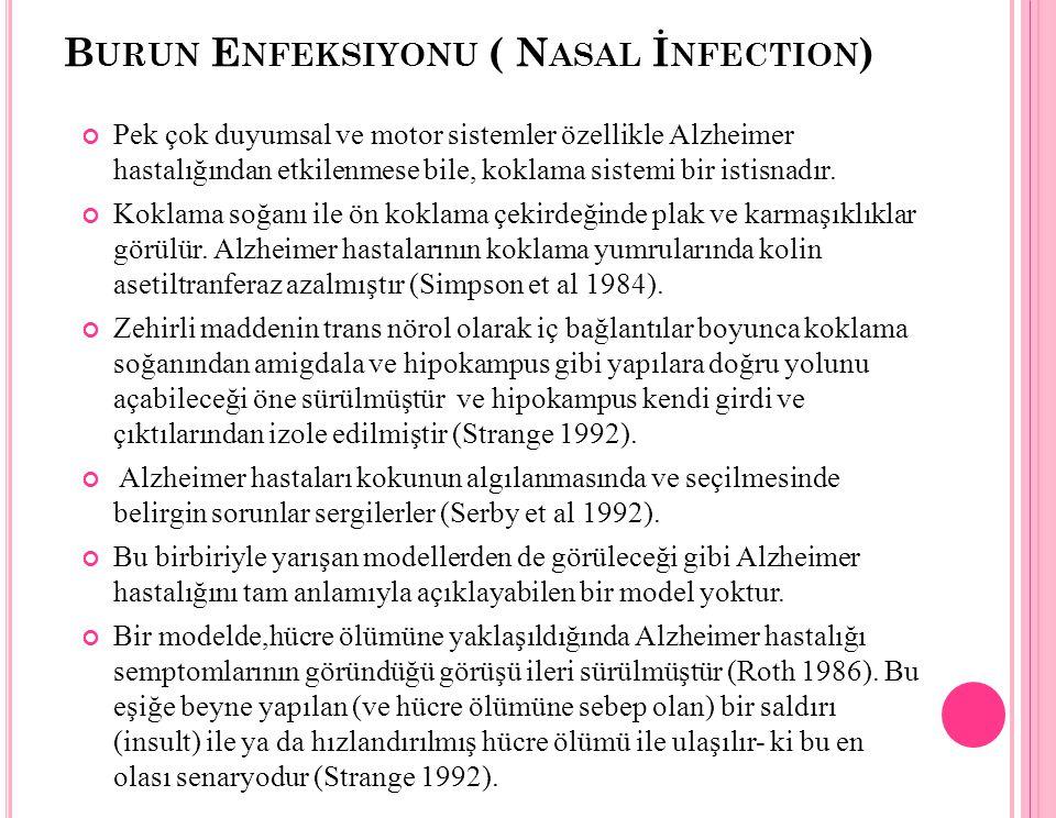 B URUN E NFEKSIYONU ( N ASAL İ NFECTION ) Pek çok duyumsal ve motor sistemler özellikle Alzheimer hastalığından etkilenmese bile, koklama sistemi bir